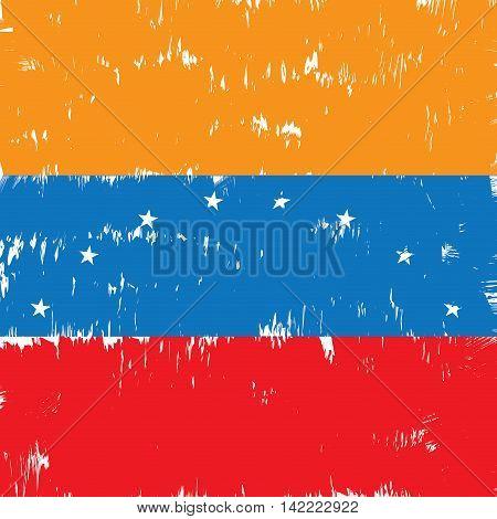 Textured Venezuelan flag Vector illustration, eps 10