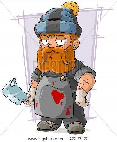 A vector illustration of cartoon redhead butcher in cap