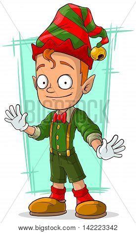 A vector illustration of cartoon redhead Santa elf in green