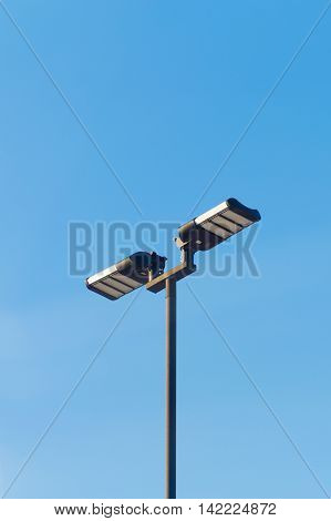 LED Street Light with blue sky on walkway