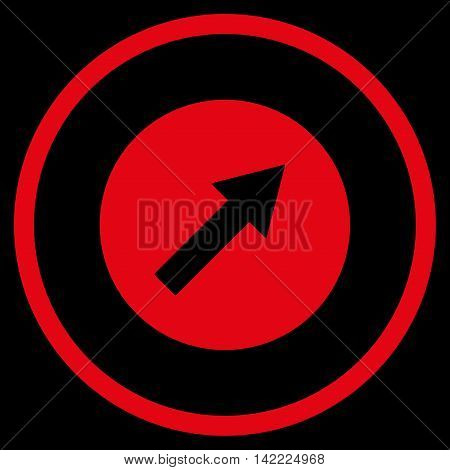 Up-Right Rounded Arrow vector icon. Style is flat rounded iconic symbol, up-right rounded arrow icon is drawn with red color on a black background.