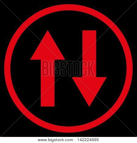 Vertical Flip Arrows vector icon. Style is flat rounded iconic symbol, vertical flip arrows icon is drawn with red color on a black background.