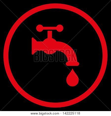 Water Tap vector icon. Style is flat rounded iconic symbol, water tap icon is drawn with red color on a black background.