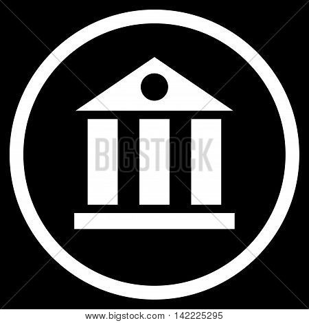 Bank Building vector icon. Style is flat rounded iconic symbol, bank building icon is drawn with white color on a black background.