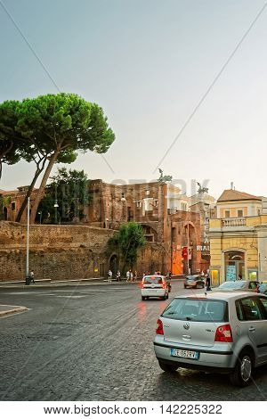 Ruins Of Trajan Forum In The Old City Of Rome