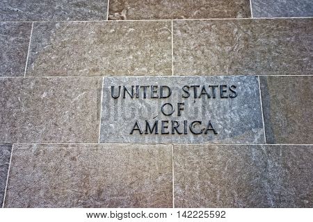 United States Of America Sign On The Department Of Justice