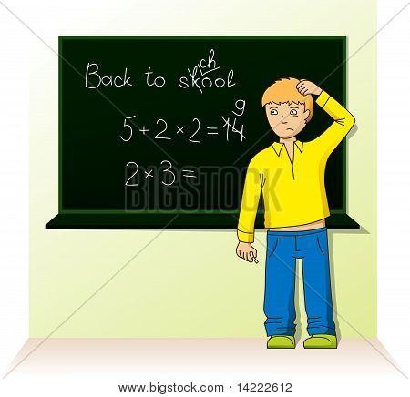 Schoolboy Near The Board
