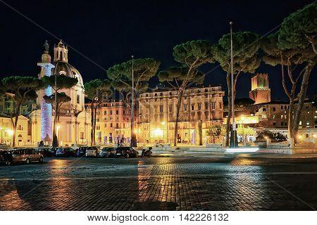 Church Of Trajan Forum In Rome In Italy At Night