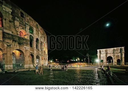 Colosseum In The City Center In Rome Italy At Night