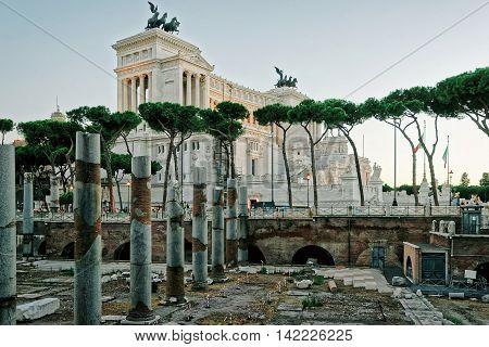 Columns Of Roman Forum In Rome Of Italy