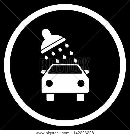 Car Wash vector icon. Style is flat rounded iconic symbol, car wash icon is drawn with white color on a black background.