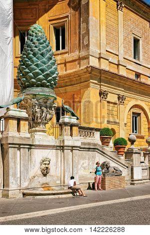 Inner Square In Vatican City In Italy