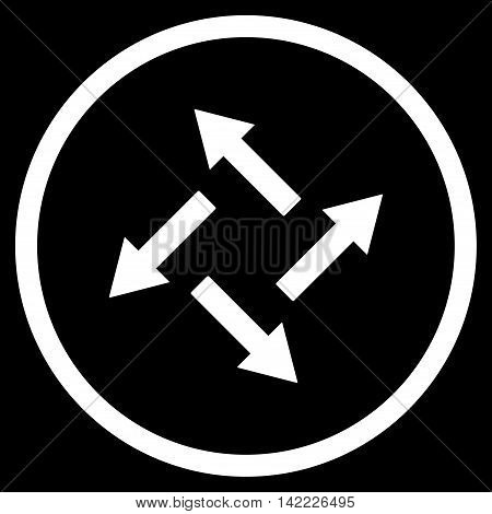 Centrifugal Arrows vector icon. Style is flat rounded iconic symbol, centrifugal arrows icon is drawn with white color on a black background.