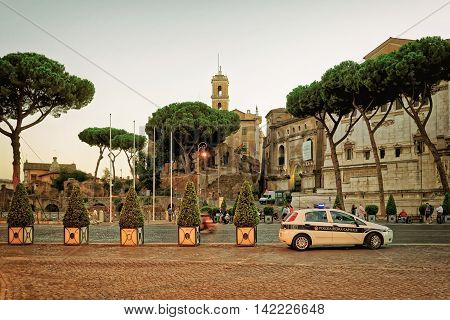 Street At Roman Forum In Rome In Italy In Evening