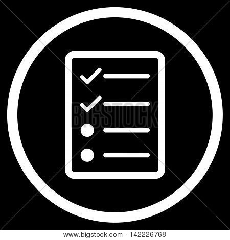 Checklist Page vector icon. Style is flat rounded iconic symbol, checklist page icon is drawn with white color on a black background.