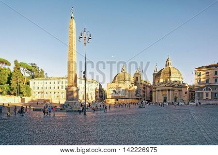 Tourists At Piazza Del Popolo In Rome Of Italy