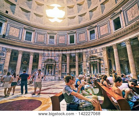 Tourists In Pantheon In Rome Of Italy