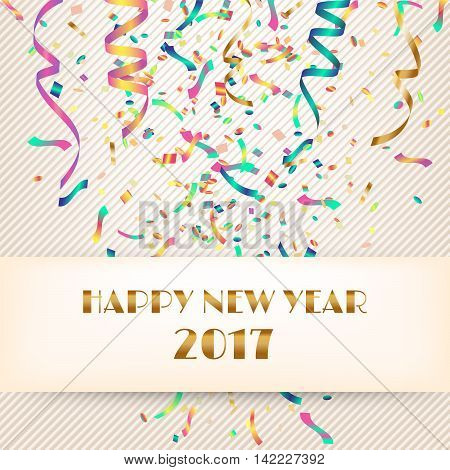 Happy New Year 2017. Fabric background with streamers and confetti. Vector illustration.