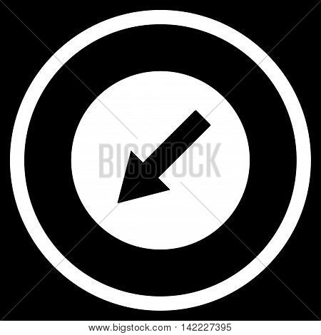 Down-Left Rounded Arrow vector icon. Style is flat rounded iconic symbol, down-left rounded arrow icon is drawn with white color on a black background.