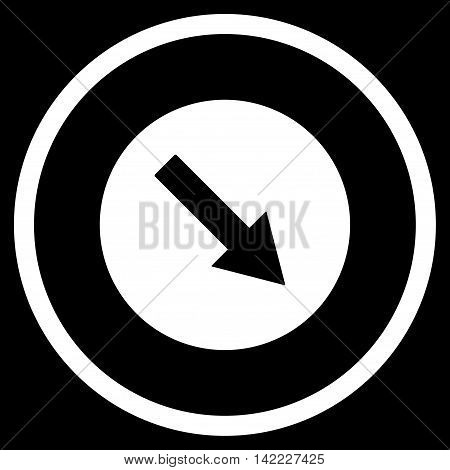 Down-Right Rounded Arrow vector icon. Style is flat rounded iconic symbol, down-right rounded arrow icon is drawn with white color on a black background.