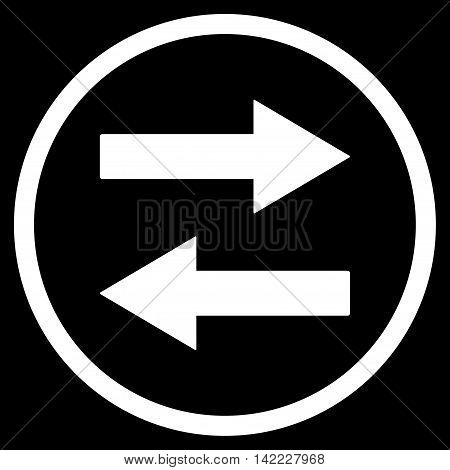 Horizontal Flip Arrows vector icon. Style is flat rounded iconic symbol, horizontal flip arrows icon is drawn with white color on a black background.