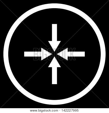 Impact Arrows vector icon. Style is flat rounded iconic symbol, impact arrows icon is drawn with white color on a black background.