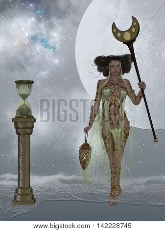 Sands of Time 3D Illustration - A sand hourglass and cosmic nebula represents endless time as ocean waves come into shore surrounding a beautiful woman.