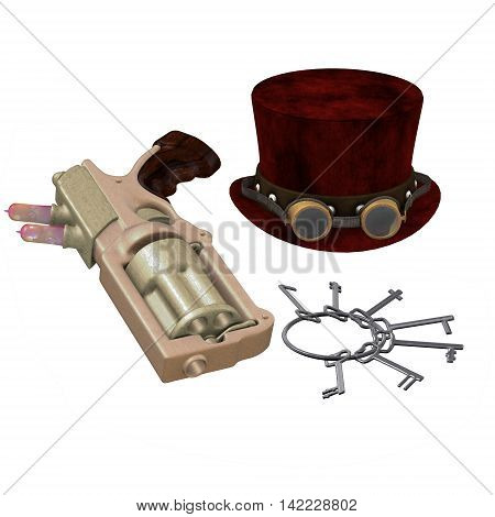 Steampunk Hat Goggles Gun Keys 3D Illustration - A Steampunk collection of various items representing the subculture of cyberpunk.