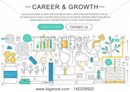 Vector elegant thin line flat modern Career and growing concept. Website header banner elements layout. Presentation, flyer and poster