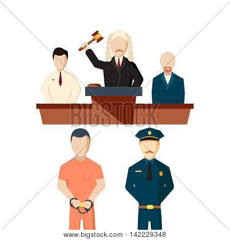 Law concept with jury trial. Vector illustration