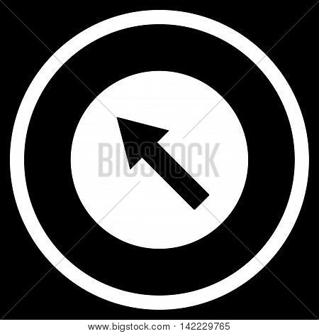 Up-Left Rounded Arrow vector icon. Style is flat rounded iconic symbol, up-left rounded arrow icon is drawn with white color on a black background.