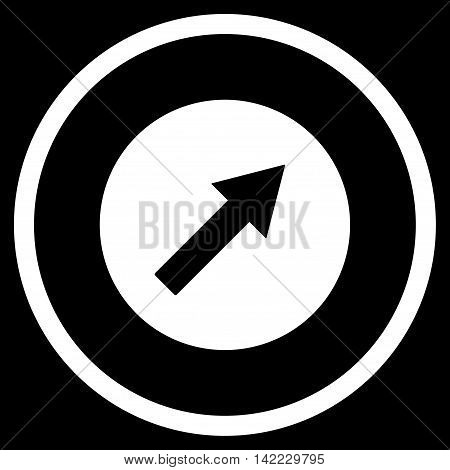 Up-Right Rounded Arrow vector icon. Style is flat rounded iconic symbol, up-right rounded arrow icon is drawn with white color on a black background.