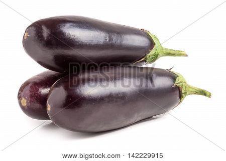 three eggplant isolated on white background macro.