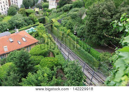 Funicular railway rails to Citta Alta in Bergamo Italy