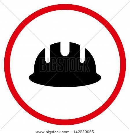 Builder Hardhat vector icon. Style is bicolor flat rounded iconic symbol, builder hardhat icon is drawn with intensive red and black colors on a white background.