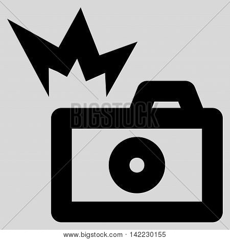 Camera Flash vector icon. Style is linear flat icon symbol, black color, light gray background.