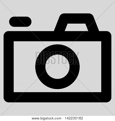 Camera vector icon. Style is outline flat icon symbol, black color, light gray background.
