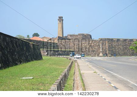GALLE, SRI LANKA - MARCH 22, 2015: From the bastions of the fortress city of Galle. Historical landmark of the city Galle