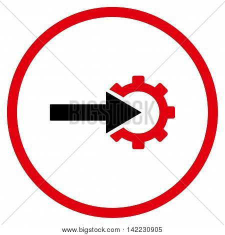 Cog Integration vector icon. Style is bicolor flat rounded iconic symbol, cog integration icon is drawn with intensive red and black colors on a white background.