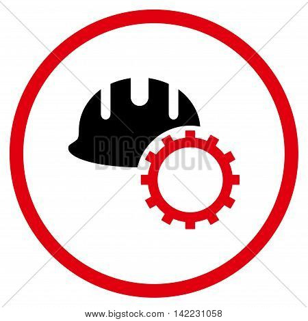 Development Hardhat vector icon. Style is bicolor flat rounded iconic symbol, development hardhat icon is drawn with intensive red and black colors on a white background.