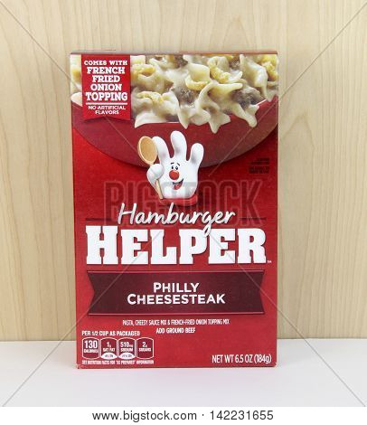 Spencer Wisconsin - August 11 2016 Box of Hamburger Helper Philly Cheesesteak Hamburger Helper is a packaged food product branded by General Mills