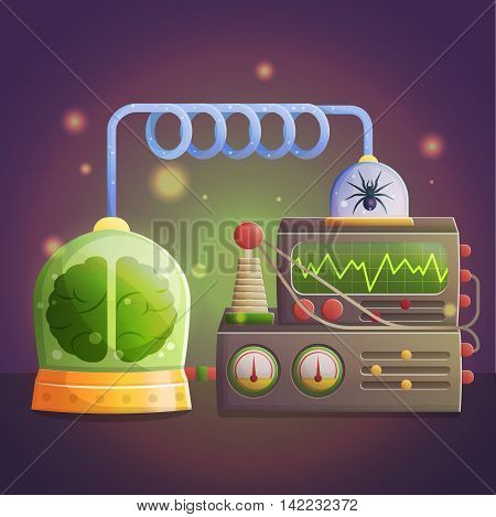 Illustration of a mad evil professor human experiment laboratory elements. Canned brain and spider, experimental lab equipment for data processing.