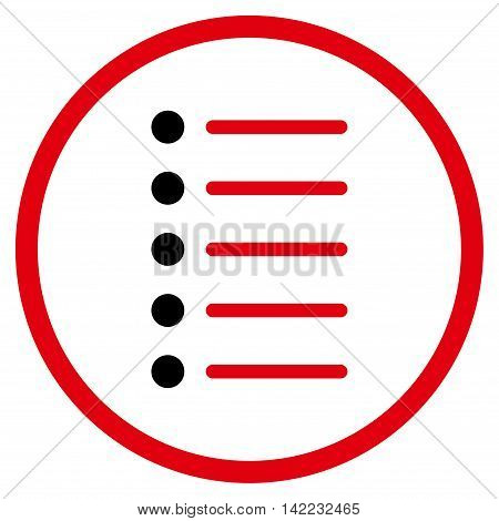 Items vector icon. Style is bicolor flat rounded iconic symbol, items icon is drawn with intensive red and black colors on a white background.