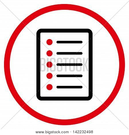 List Page vector icon. Style is bicolor flat rounded iconic symbol, list page icon is drawn with intensive red and black colors on a white background.