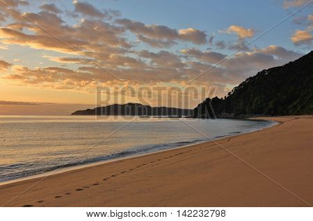 Morning scene in the Abel Tasman National Park New Zealand. Sunrise at Totaranui Beach.