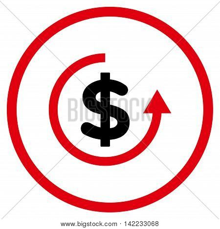 Refund vector icon. Style is bicolor flat rounded iconic symbol, refund icon is drawn with intensive red and black colors on a white background.