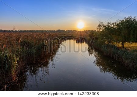 beautiful sunrise in the Danube Delta Romania