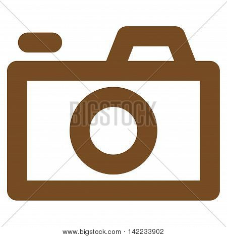 Camera vector icon. Style is outline flat icon symbol, brown color, white background.