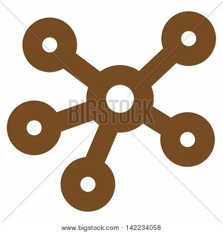 Hub Links vector icon. Style is outline flat icon symbol, brown color, white background.