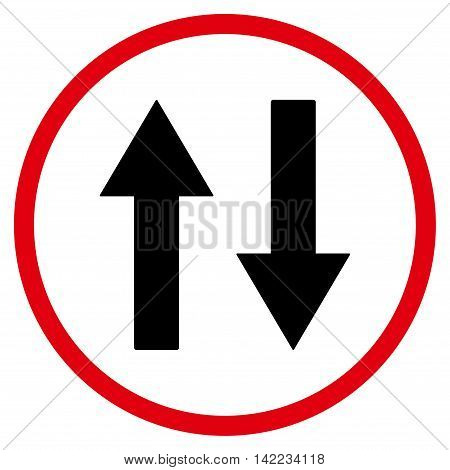 Vertical Flip Arrows vector icon. Style is bicolor flat rounded iconic symbol, vertical flip arrows icon is drawn with intensive red and black colors on a white background.